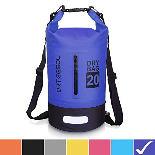 arteesol Borsa Impermeabile 5L/10L/20L/30L Waterproof Dry Bag Zaino Sacca Stagna con Doppia Tracolla per Nuoto Kayak Canottaggio Pesca Viaggiare in Bicicletta Spiaggia