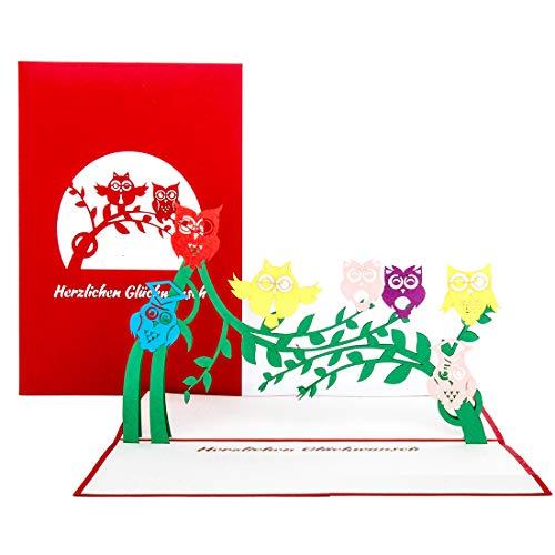 """Pop Up Karte\""""Eulen - Geburtstag\"""" - 3D Geburtstagskarte für alle Eulenfans – als Geschenk, Dekoration, Geschenkidee, Einladungskarten zum Geburtstag, Eule Deko & Geschenkverpackung"""