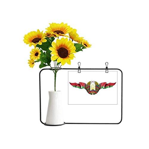 Weißrussland-Flagge, Nationalemblem, künstliche Sonnenblumen-Vasen, Flasche Segenskarte