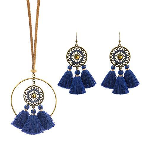 Timagebreze Conjunto de Pendientes y Collar Bohemio con Colgante Retro para Mujer Borlas Largas Cadena de SuéTer Hueco Pendiente de Estilo éTnico Azul Marino