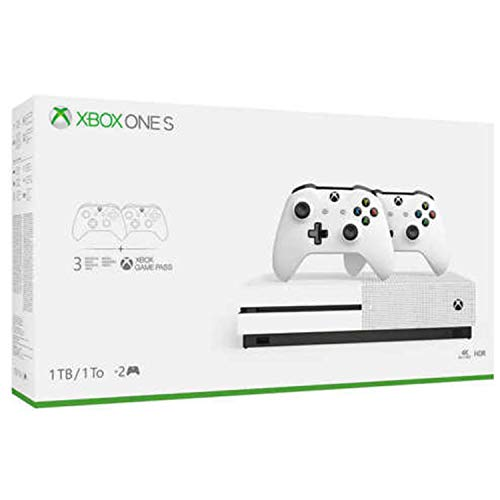 Xbox One S Two Controller Bundle (1TB) Includes Xbox One S, 2 Wireless Controllers, 3-Month Game Pass Trial, 14-day Xbox Live Gold Trial