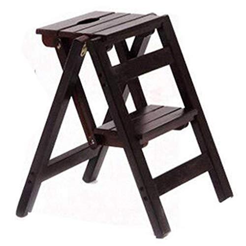ZYLZL Escalera portátil plegable Taburete con escalones Silla de escalera de 2 escalones Silla plegable de madera maciza de moda Escalera de tijera multifunción plegable Biblioteca de casa Cocina Pas