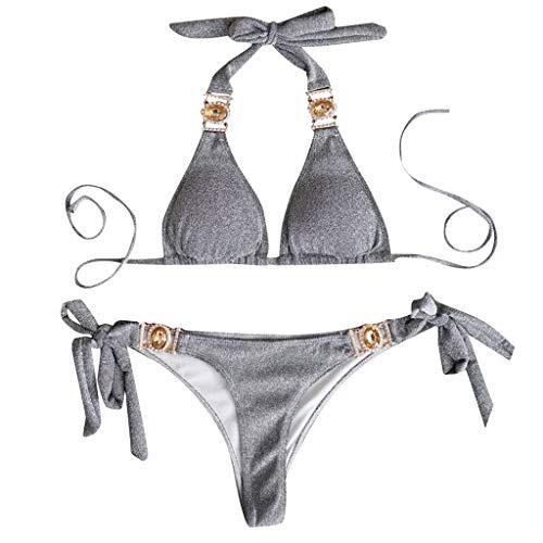 Damen Neckholder Push up Bikini Set Glänzender Pailletten Badeanzug Zweiteilige Hohe Taille Bikinihosen Party Pool Tankini Bandeau mit Diamant Strass Luxus Bademode Große Größen mit Gepolstert