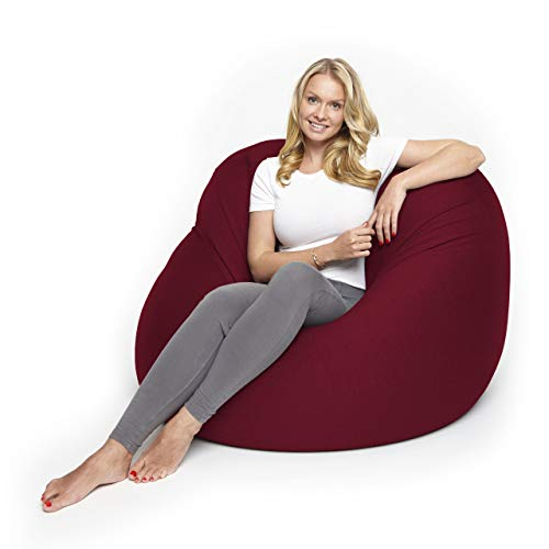 Lumaland Poltrona Sacco Beanbag Flexi Comfort Pouf in Diverse Misure e Colori Taglia L 155 x 100 cm Rosso