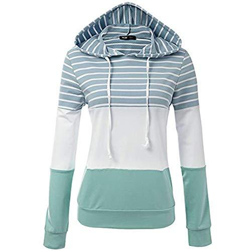 QingJiu Frauen Gestreiftes Langärmliges mit Kapuze Strickjacke Sweatshirt Hemd Oberseite(S-2XL)
