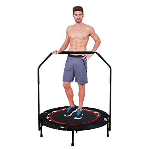 ANCHEER Fitness-Trampolin, Indoor/Outdoor, leise Gummiseilfederung, Höhenverstellbarer Haltegriff, Trampolin für Jumping Fitness, Nutzergewicht bis 100kg/135kg, Ø 40inch