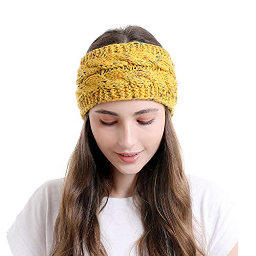 Sayhi Winter Warm Cable Knit Headband Head Wrap Ear Warmer for Women Hair Band Girls Headwraps (Yellow,one measurement)