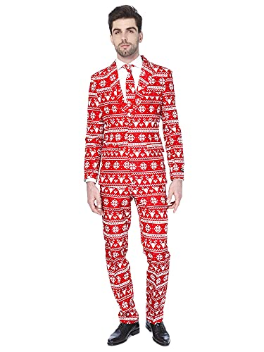 Suitmeister Christmas Suits for Men – Christmas Red Nordic – Ugly Xmas Sweater Costumes Include Jacket Pants & Tie – M