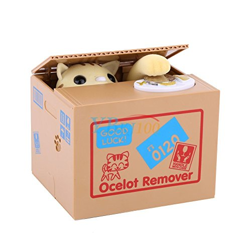Yosoo varken spaarpot elektrische kat geel in doos (batterijen niet meegeleverd)
