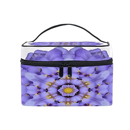 Trousse de maquillage avec motif de fleurs et de mandala violettes - Grande poignée de voyage personnalisable avec compartiments pour adolescentes, filles, femmes et femmes.