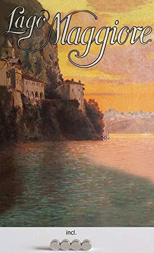 Blechschild 20x30cm gewölbt incl. 4 Magneten Reklame Plakat Lago Maggiore Urlaub Retro Deko Geschenk Schild Nostalgie
