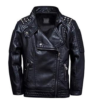 TLAENSON Boys Black Leather Jacket Studded Motorcycle Faux Leather Coat 7-8 Years Size 128