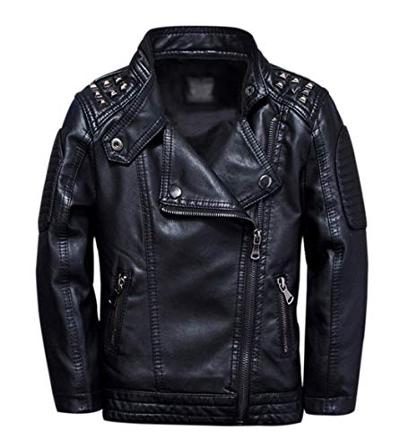 TLAENSON Boys Black Leather Jacket Studded Motorcycle Faux Leather Coat 3-4 Years Size 104
