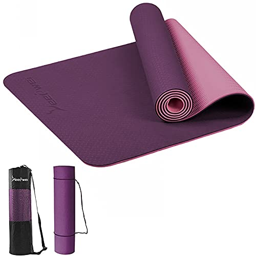 """LEEPWEI Yoga Mat for Women Exercise Mat Thick Non-Slip TPE Eco-Friendly Material Fitness Mat for Yoga Pilates and Floor Exercise with Yoga Belt and Storage Bag Exercise Mat for Men (72""""X24""""X 1/4"""")"""