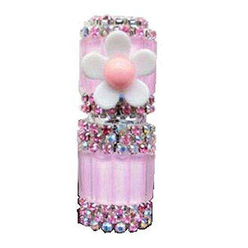 Bouteille vide d'huile essentielle de strass en verre de tube de parfum de Roll-on 5ML, fleur rose