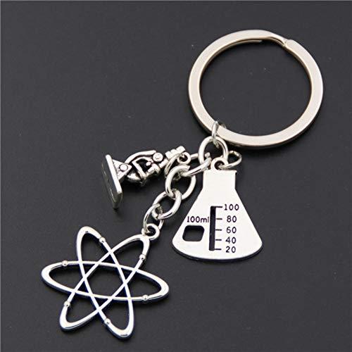 GANGXIA Schlüsselbund 1 Stück Silber Mikroskope Charms Anhänger Neuron Schlüsselanhänger Anatomie Schlüsselanhänger Neurologie Schmuck Biologie Geschenk