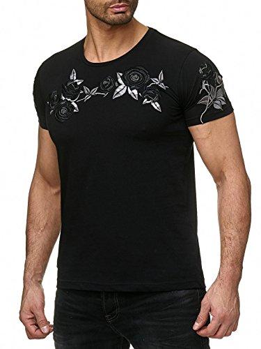 Red Bridge Herren T-Shirt Stitched Roses Schwarz S