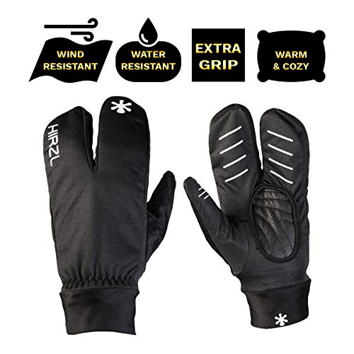 HIRZL Finger Jacket Gloves, Black, Full Finger, Glove Cover, Wind, Water Repellent, Silicone Grip, Pull-On Tabs, Lycra Cuff, Thumb Wipes, Durable, MTB, Road, Mountain, Cycling, Swiss Technology, XL