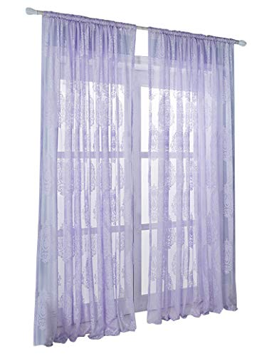 HooHero European Wrap Knitting Jacquard Sheer Curtains Floral Print Elegance Window Treatments Rod Pocket Voile Panels for Living Kids Room Kitchen Balcony(1 Panel, W 52 x L 95 inch, Purple)