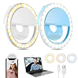Selfie Ring Light (2 Packs), 3 Light Modes Rechargeable Clip-on Phone Ring Light with 36 LED for iPhone/Laptop/Computer, Mini Selfie Light for Photography & Videos, Girl Makes up (White and Blue)