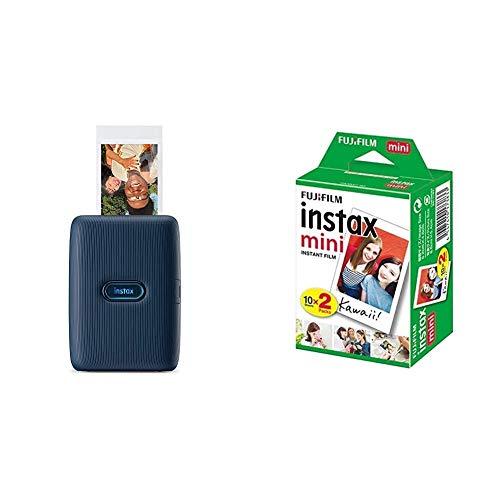 instax Link Smartphone Printer, Dark Denim & Mini Instant Film, 2X 10 Blatt (20 Blatt), Weiß