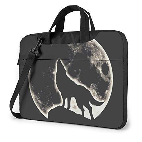 Lobo aullador con Bolsa de Mensajero con Hombro para computadora portátil Full Moon, Estuche portátil para portátil para Chromebook HP Ultrabook