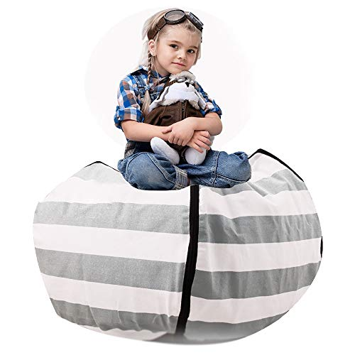 Enjoyable Tigerhu Kids Bean Chair Stuffed Animal Extra Large Cotton Canvas Organizing Bag Perfect Storage Solutions For Plush Toys Blankets Towels Clothes Theyellowbook Wood Chair Design Ideas Theyellowbookinfo