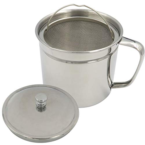 Evelots Oil Storage Can Strainer-Container-Bacon Grease Keeper-Stainless-1.25 QT