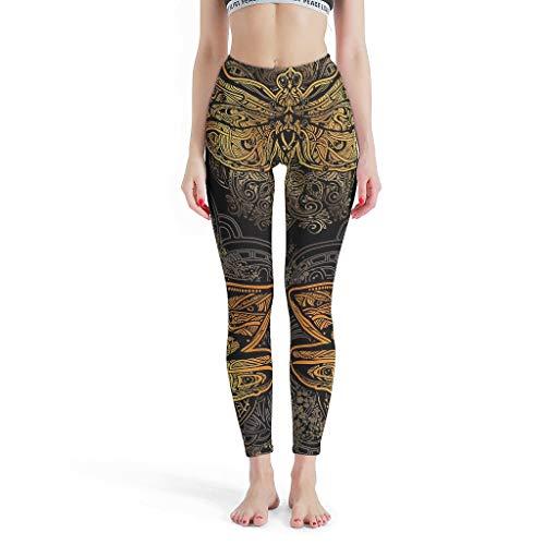 O5KFD&8 Damen Dragonfly Muster Leggings Sexy High Waist Out Leg Pants Workout - Dragonfly Capri-Leggings Damen