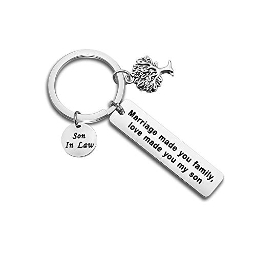 MYOSPARK Son in Law Keychain Marriage Made You Family Love Made You My Son Blended Family/Wedding Gift For Groom(Love Made You My Son)