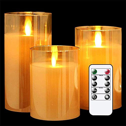 saxz Flameless Led Candles Flickering, Real Wax Fake Wick Moving Flame Faux Wickless Pillar Battery Operated Candles With Timer Remote Glass Effect