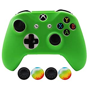 Hikfly Silicone Controller Cover Skin Protector Case Faceplates Kits for Xbox One X/One S/Slim Controller with 4pcs Thumb Grips Caps(Green)