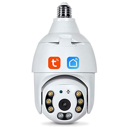 E27 Telecamera Con Lampadina Wi-Fi, Tuya Smart Life 3MP PTZ Lampada Per Telecamera Di Sicurezza Con Visione Notturna A Piena Luce Telecamera Bidirezionale Monitoraggio Automatico Videosorveglianza