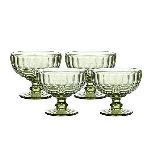 Ice Cream Cups- Vintage Pressed Pattern Glass Dessert Bowls