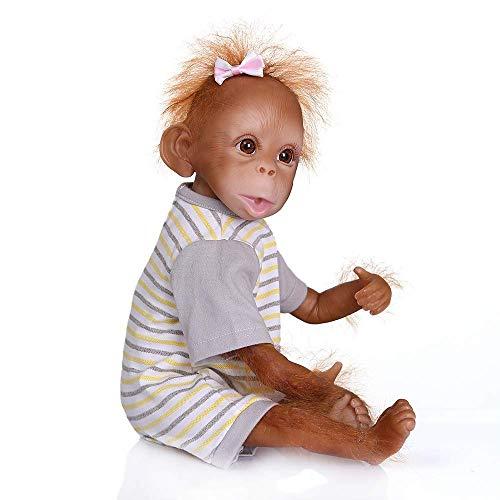 Pinky Reborn Muñecos bebé Renacer Mono Bebé 18 Pulgadas 45cm Silicona Muñeca Mono Bebe Muñeca Parece Realista Precioso Mono de Piel Juguete de colección