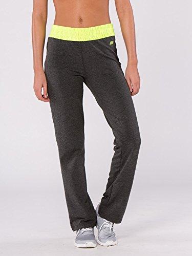 BODYCROSS Pantalon Femme Cahrcoal/Jaune Fluo Training, Lifestyle - Polyester/Coton/Spandex - Coupe Large, Ceinture Élastiquée Large