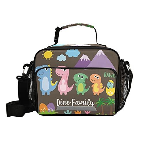Linda bolsa de almuerzo con aislamiento familiar de dinosaurios con correa ajustable para el hombro, loncheras para picnic y nevera para niños y niñas