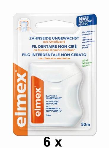 6 elmex Zahnseide je 50 m ungewachst Mint-Geschmack