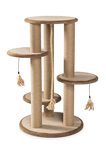 Prevue Pet Products Kitty Power Paws Multi-platform palen met kwastspeelgoed, naturel
