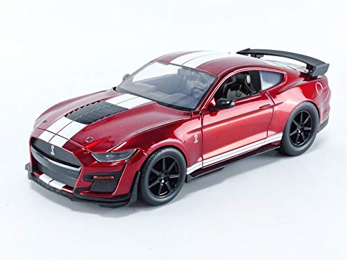 Jada Toys Bigtime Muscle 1:24 2020 Ford Mustang Shelby GT500 Die-cast Car Red White Stripes, Toys for Kids and Adults