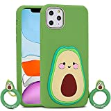 for iPhone 11 Pro Max Case Avocado, BEFOSSON 3D Cartoon Cute iPhone 11 Pro Max Funny Kawaii Avocado Case with Phone Case Ring, Girls Boys Teens Soft Silicone Rubber Cover Case for iPhone 11 Pro Max