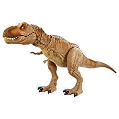"""The Epic Roarin' Tyrannosaurus Rex is inspired by the Jurassic World animated series, Camp Cretaceous! This larger-scale dinosaur action figure features """"Primal Attack"""" that lets kids control the battle play! Move the tail up and down, side to side..."""