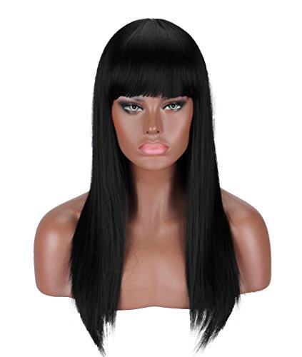 Kalyss perruque noire environ 22 pouces pleine perruque droite longue pour les femmes résistant à la chaleur Yaki cheveux synthétiques perruque femme avec frange (noir # 2)
