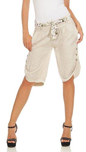 Mississhop Mississhop 281 Damen Capri 100% Leinen Bermuda lockere Kurze Hose Freizeithose Shorts mit Gürtel und Knöpfen Beige M