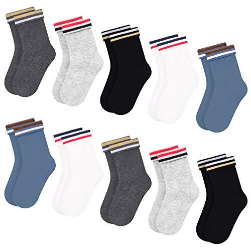 10 pares de calcetines de algodón para niños L & K-II Patrón lindo Calcetines deportivos para niños Calcetines de algodón de colores para bebés Calcetines para niños pequeños 2821 31-34