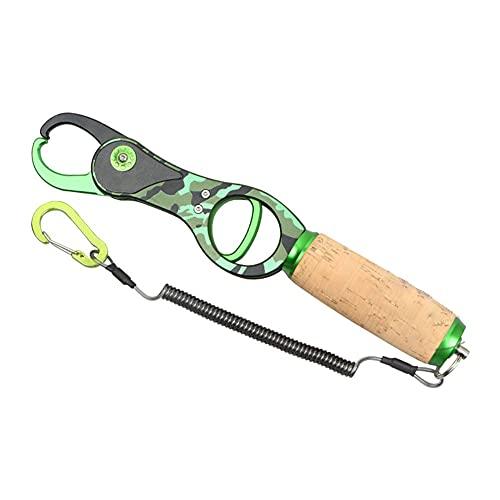 Poisson en acier inoxydable Grabber Gripper Gripper Tool Porte-poisson Porte-poissons Pinces de pêche Pinces à cravates à eau salée Pinces de dissolvant avec lanière enroulée pour hommes de pêche