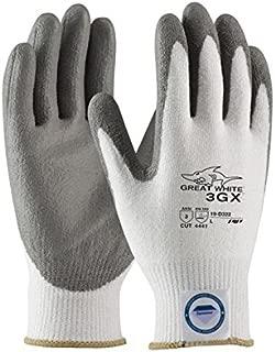 PIP Great White 3GX 19-D322 White/Gray 2XL Dyneema Cut-Resistant Gloves - EN 388 4, ANSI 3 Cut Resistance - Polyurethane Palm & Fingers Coating - 10.4 Length - 19-D322/XXL [PRICE is per PAIR]