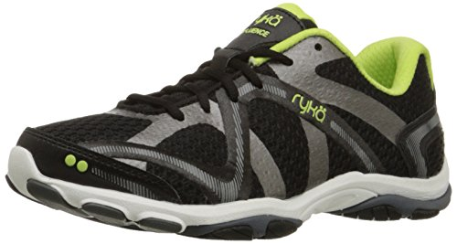 Ryka Women's Influence Cross Training Shoe, Black/Sharp Green/Forge Grey/Metallic, 7.5 M US