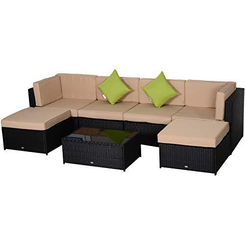 Outsunny Set 7 Pezzi Salotto da Esterni con Poltrona Pouf Tavolino| Mobili da Giardino in Rattan | Colore: Nero, Beige