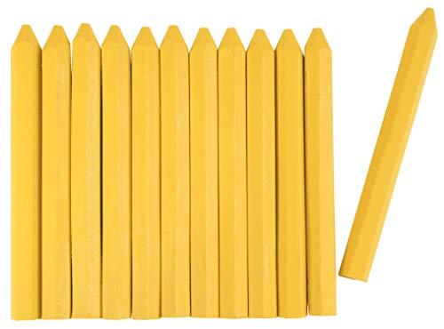 Connex Signierkreide gelb - Ø 11 x 120 mm - Praktisches Set mit 12 Stück - Für Holz, Beton, Eisen, Textilien & Co. - Wetterfest & lichtecht - Sechskantform / Markierkreide / Forstkreide / COXT780560